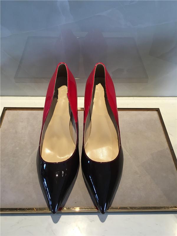 Estilos frete grátis Então Kate deslizar lateralmente sapatos de salto alto parte inferior vermelha de couro genuíno Ponto Toe Bombas Borracha 002 d02