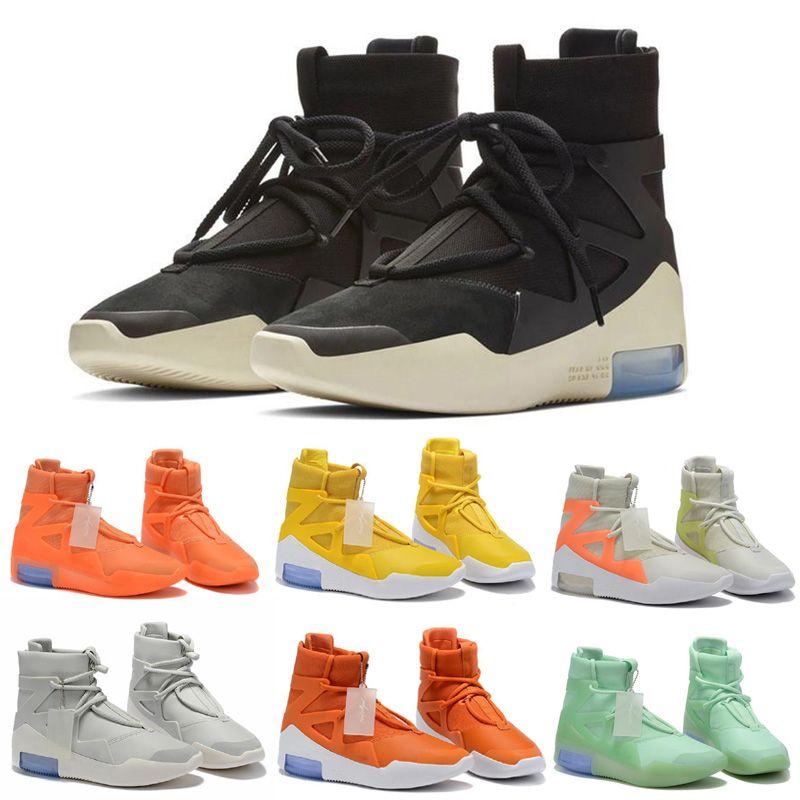 2021 الخوف من الله 1 أحذية الأحذية الثلاثي الأسود البرتقال عالية الكاحل الرياضة shoess حذاء رجل الشتاء سكيت حذاء المرأة التمهيد
