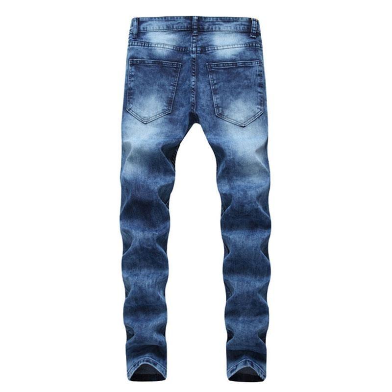 2020 Yeni Yaz Erkekler İnce Elastik Jeans Moda Klasik Stil Ripped Jeans Düz Kot Pantolon Pantolon Artı boyutu 40 42