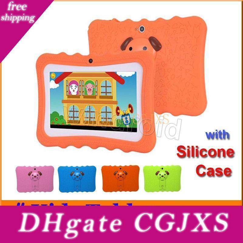 2018 Kids Tablet Pc 7 Inch Quad Core Children Tablet Android 4 .4 Allwinner A33 8gb Google Player Wifi Big Speaker Protective Cover Case