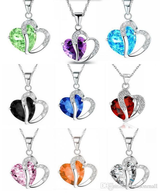 Zirkon Kristal Kolye El Sanatları Kolye Takı Aksesuar Hediye D294LR Şeklinde Heart 14 Renkler Takı Kore Sürüm