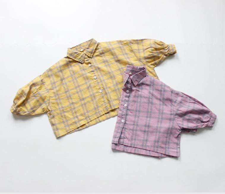 FM INS coréen Japon Enfants Filles Garçons Chemises à carreaux en coton lin doux à manches bouffantes Boutons avant Qualité Princesse Blouses enfants Tops
