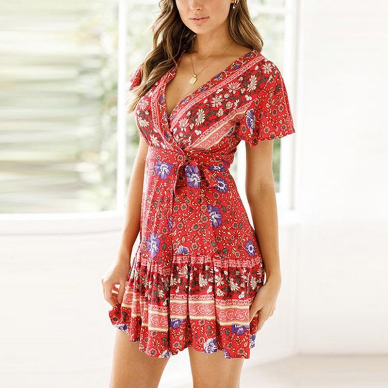 Más el tamaño de las mujeres vestidos de verano 2020 atractivo de la manga V del cuello de la impresión floral de Boho Beach volante vestido corto una línea mini vestido Vestido de tirantes