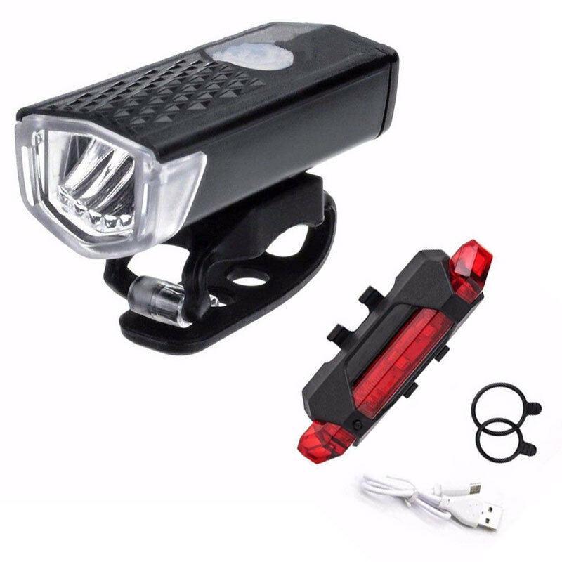 دراجة دراجة ضوء LED USB قابلة للشحن مجموعة جبل دورة عودة الجبهة مصباح المصباح