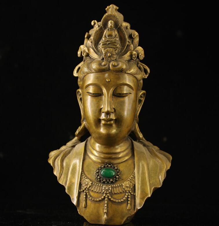 Collection of antiques, miscellaneous arts and crafts, brass, copperware, inlaid gemstones, wholesale, antique distressed old Guanyin bust o