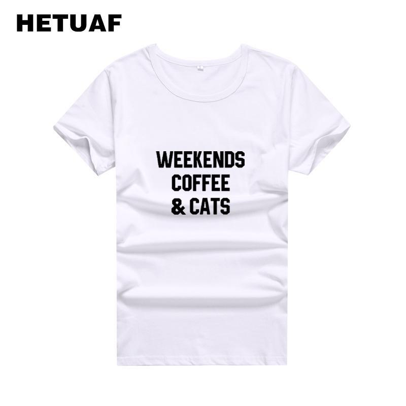 FINS DE SEMANA HETUAF de café dos gatos T Shirt Mulheres Tops 2020 Harajuku Hipster Moda camiseta Femme ulzzang Tumblr T-shirts Mulheres de algodão