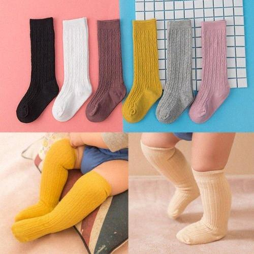 Baby Toddler Girls Knee High Socks Tights Leg Cotton Warmer Stockings For 0 3Y Hot New Baby Girl Candy Color Knit Stockings VcTq#