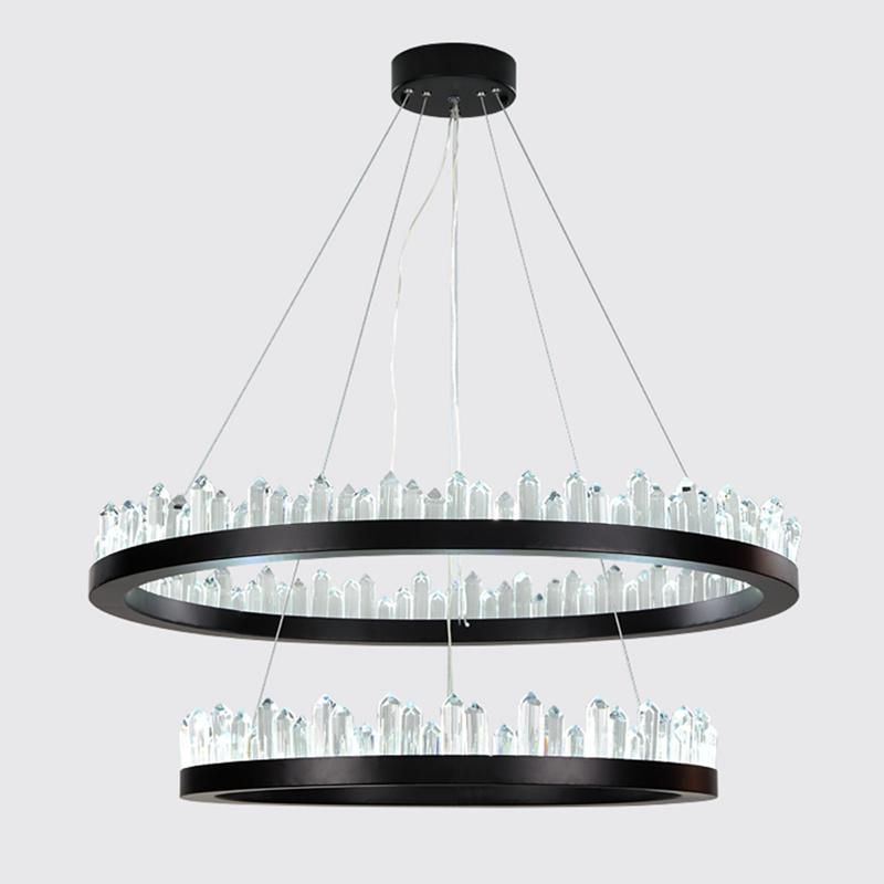 Modern LED Chandeliers lustre Crystal Chandelier Living Room Dining Room Luxurious Circular Iceberg Crystal Chandelier Lighting