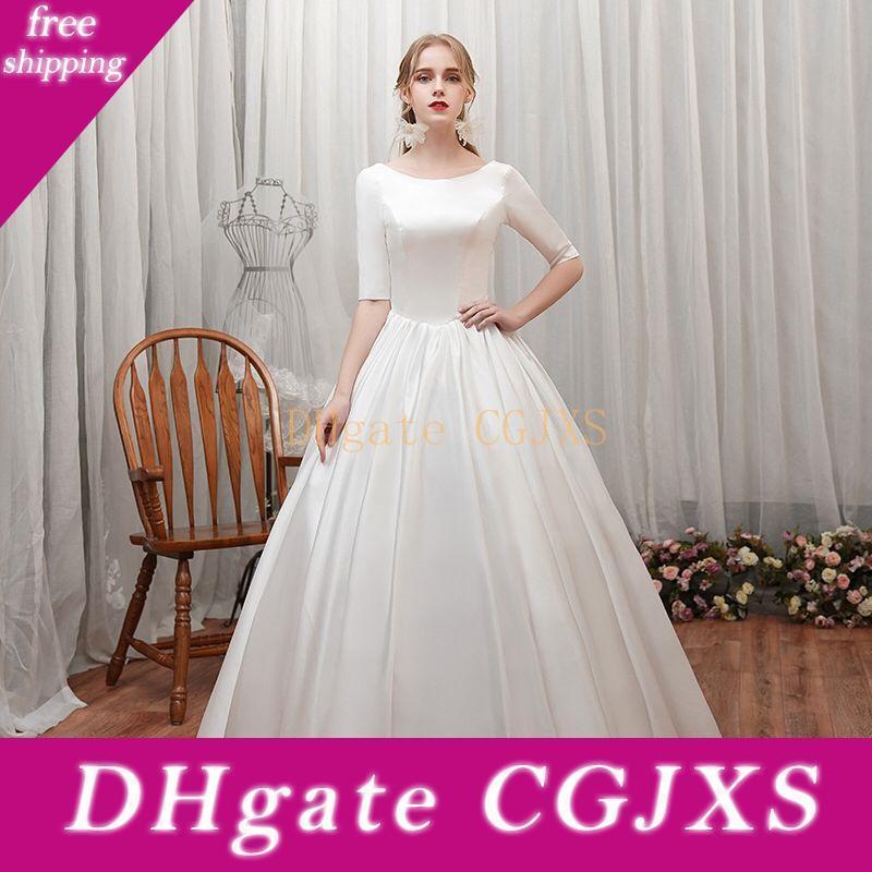 Атласная Line Свадебные платья Узелок невесты платье с рукавами Половину весна осень Пляжные свадебные платья