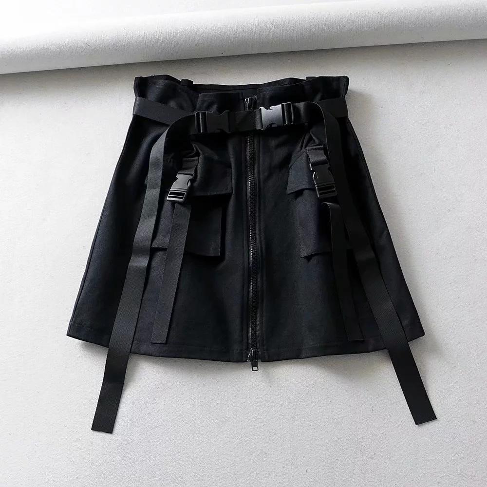 estilo jWtZG ins macacão A- Line Vestido de macacão verão cintura alta vestido cinto de zíper hip hop linha A- feminino