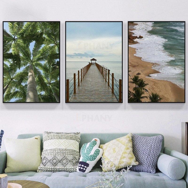 Paisaje de playa Imagen Naturaleza Mar escandinava lona de pintura del cartel nórdico paisaje de la decoración impresión del arte de la decoración del hogar # mXEv