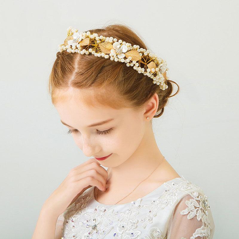 Enfants Accessoires cheveux pour fille Bandeau d'or Feuilles enfants Coiffe perle Ornement cheveux filles fée Coiffe 2020