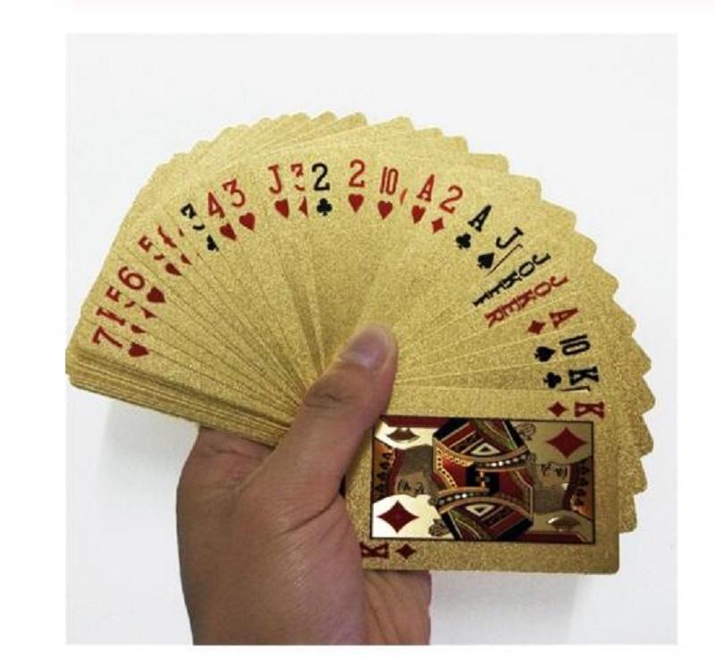24K Gold Игра в карты для игры в покер Колода Gold Foil Poker Set Пластиковые карты Магия Водонепроницаемый карты магии