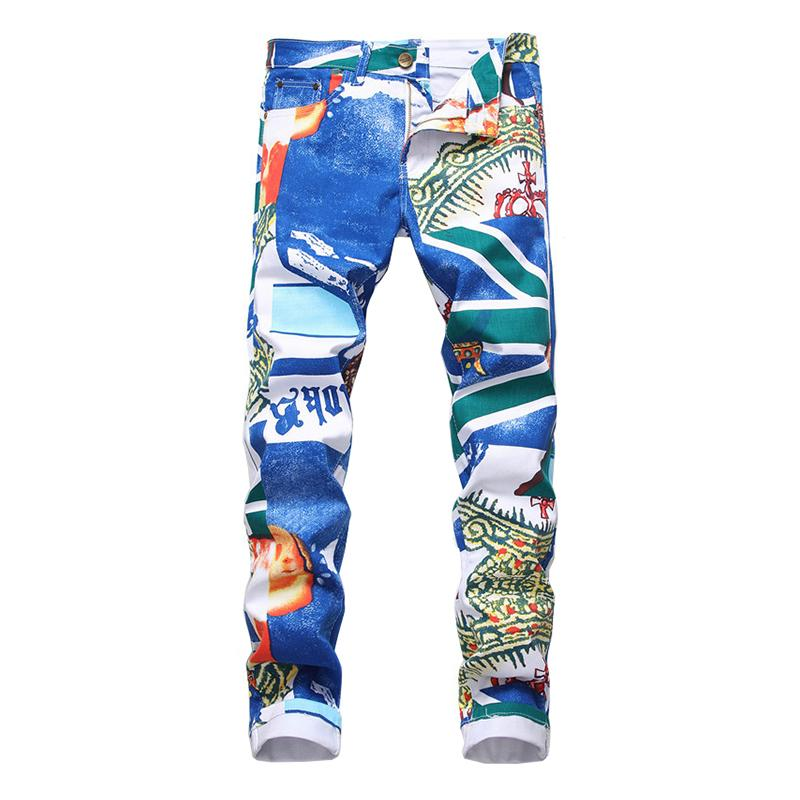 Comprimento Mens Casual Moda Azul Impresso Jeans Slim Fit Hetero Pants Stretch High Street completa Padrão Zipper Stripe Mid
