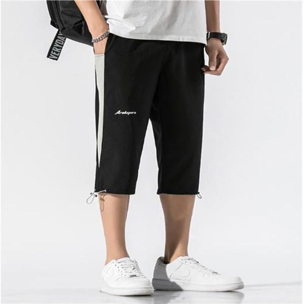 Hombres con cordón pantalones casuales pantalones de verano 2020 jóvenes elástico Capris ocasional del diseñador del Mens pantalón corto sueltos