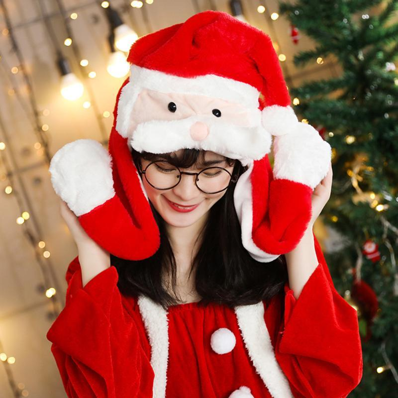 Santa Claus Christmas Hat LED Flash Light Ear Movable Xmas Cap Sof Flannel Cute Hat For Adult Christmas Decorations For Home
