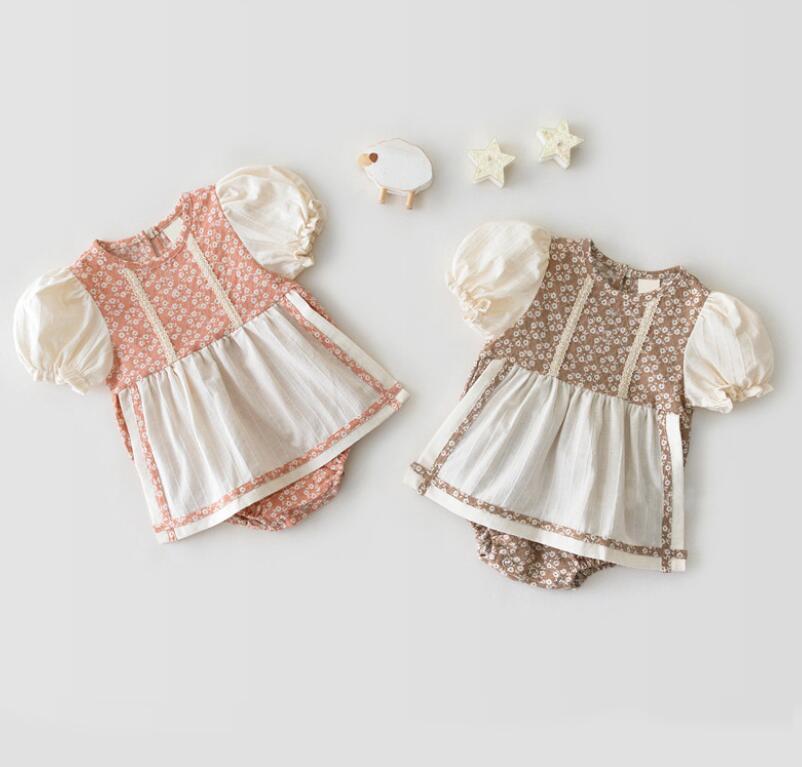 أزياء الطفل الاطفال ملابس قصيرة الأكمام جولة طوق زهرة طباعة رومبير 100٪٪ طفل تسلق الربيع الخريف فتاة رائعة رومبير