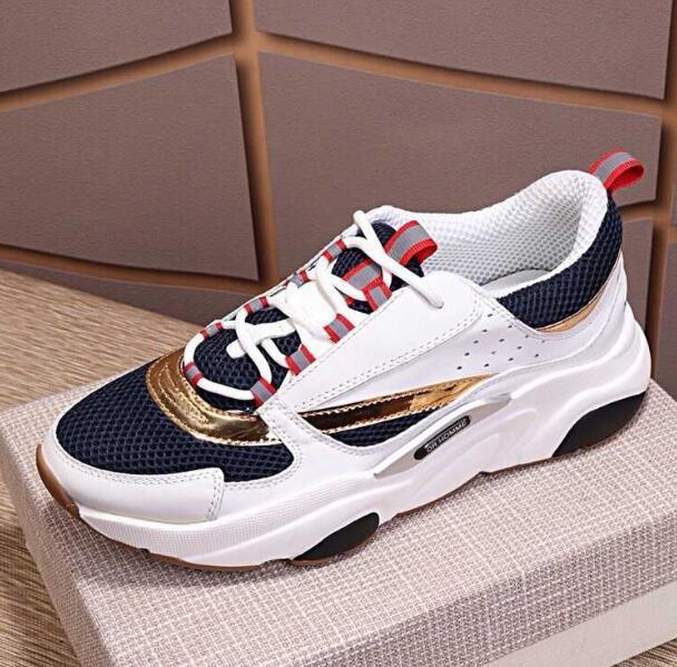 Männer Leinwand und Kalbsleder Europa Fashion Sneaker Sneaker Fashion New Sneakers B22 Trainer Technischer Knit Schuhe D02
