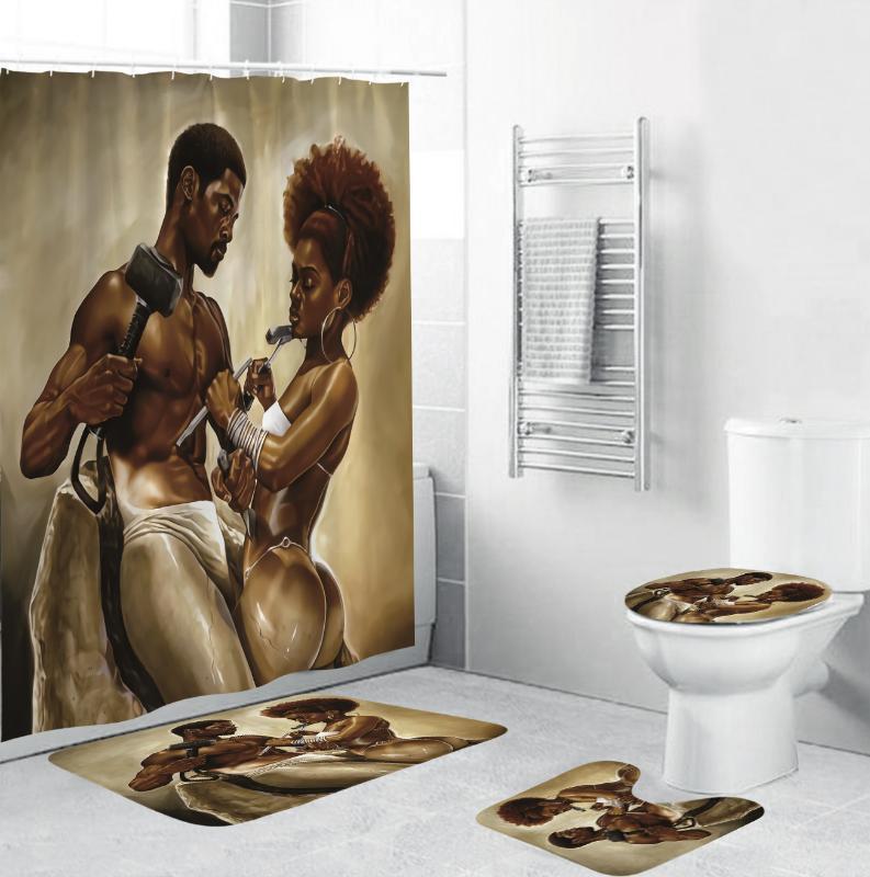 180x180cm Африканский Strong Man Женщины полиэстер Ткань занавеса ливня дизайна ванной комнаты Шторы с 12 Крючки Коврик для ванной Обложка