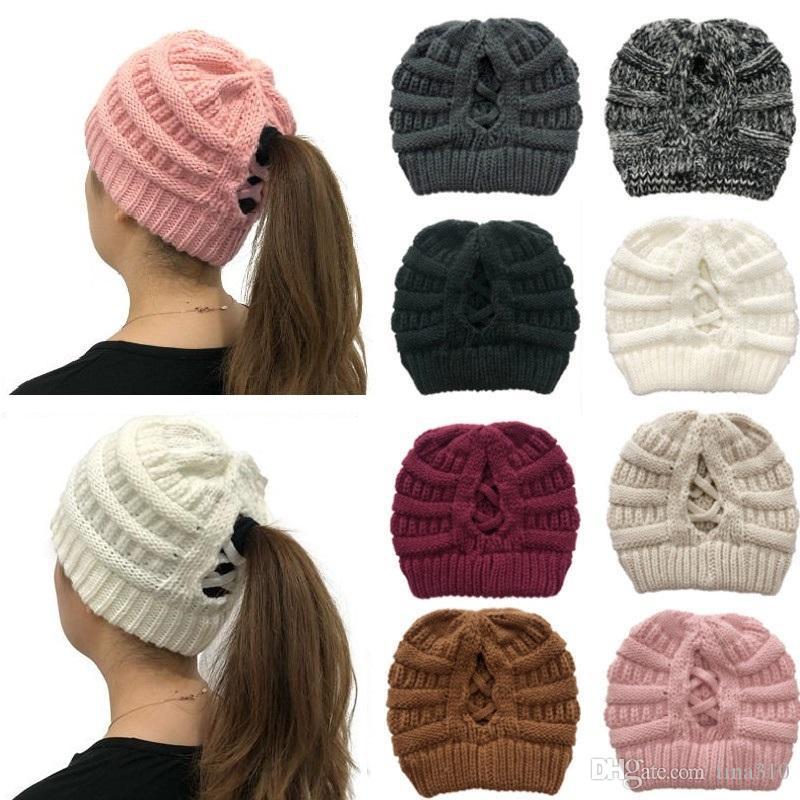 2020 Ventes chaude Nouveau Style Crossetail Tricoté chapeau tricoté de laine de laine chapeau dames hiver chaleur chaude chapeau de couleur T9I00613