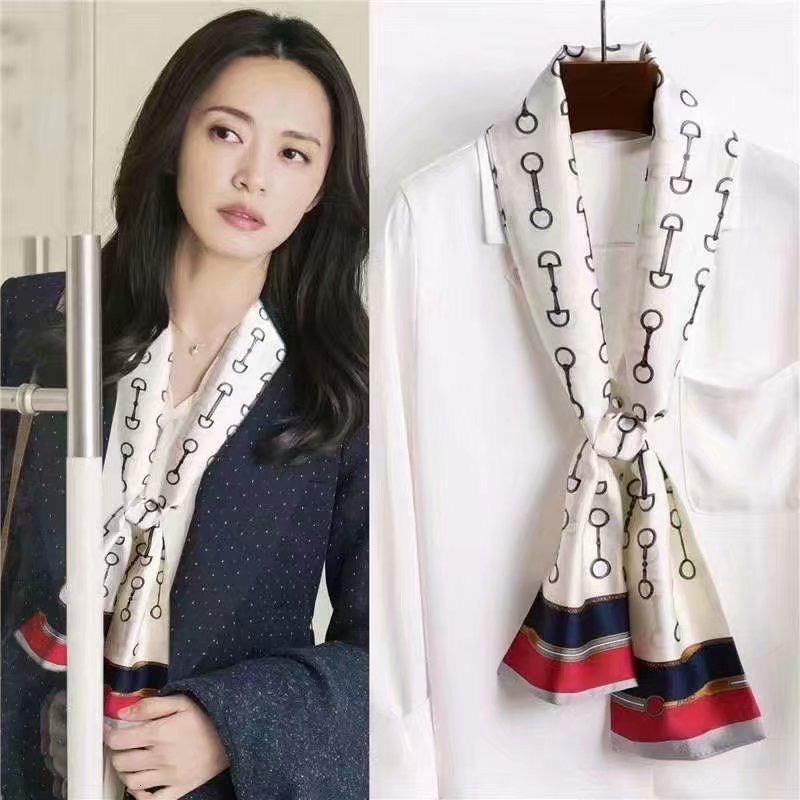 fascia dei capelli primavera e l'autunno lungo nastro imitazione di gelso dei cartoni animati di seta piccola sciarpa per le signore