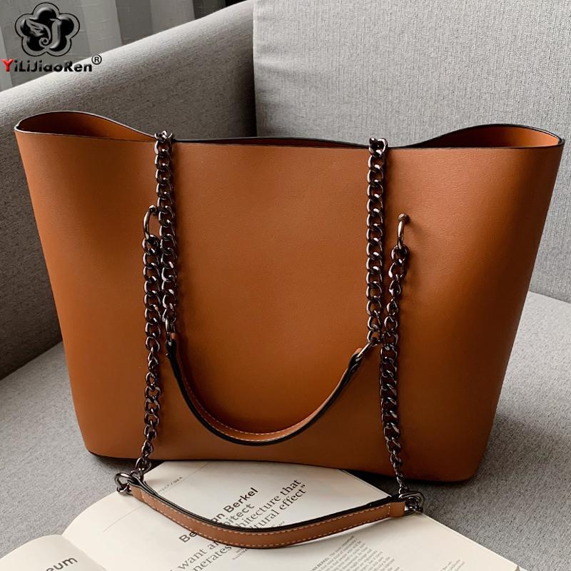 Casual Sacs à main femmes Sacs Designer chaîne sac à bandoulière en cuir célèbre marque Ladies sac à main de grande capacité Sac fourre-tout Sac A Main LJ200827