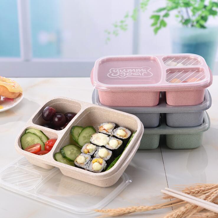 Öğle Kutu 3 Izgara Buğday Straw Bento Bagsradable Şeffaf Kapak Gıda Konteyner İçin Çalışma Seyahat Taşınabilir Öğrenci Beslenme Çantaları Konteynerleri YL12