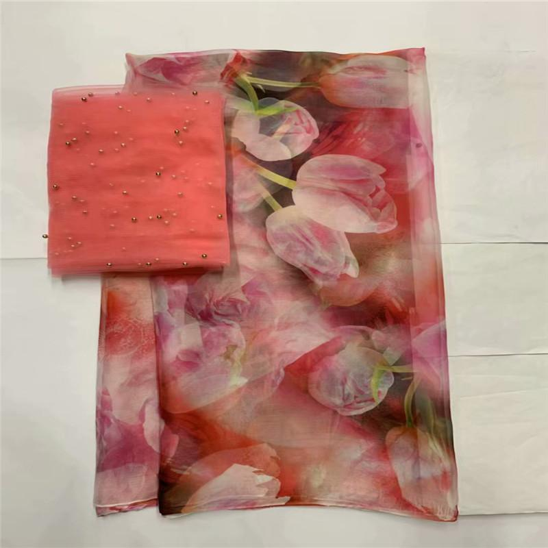 Hot selling satin silk fabric 5 yards/lot colorfast Nigrian design African wax pattern satin silk fabric for clothing LXE091326