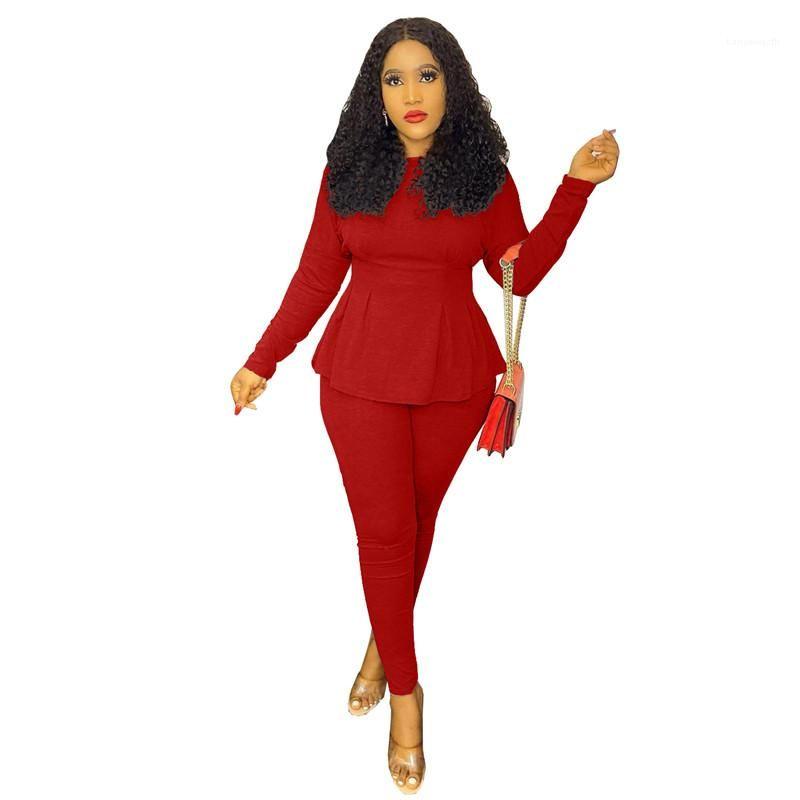 Sleeve à manches longues de luxe à manches longues 2pcs Ensembles de couleur unie Femme Twood Outfit Womens Designer design