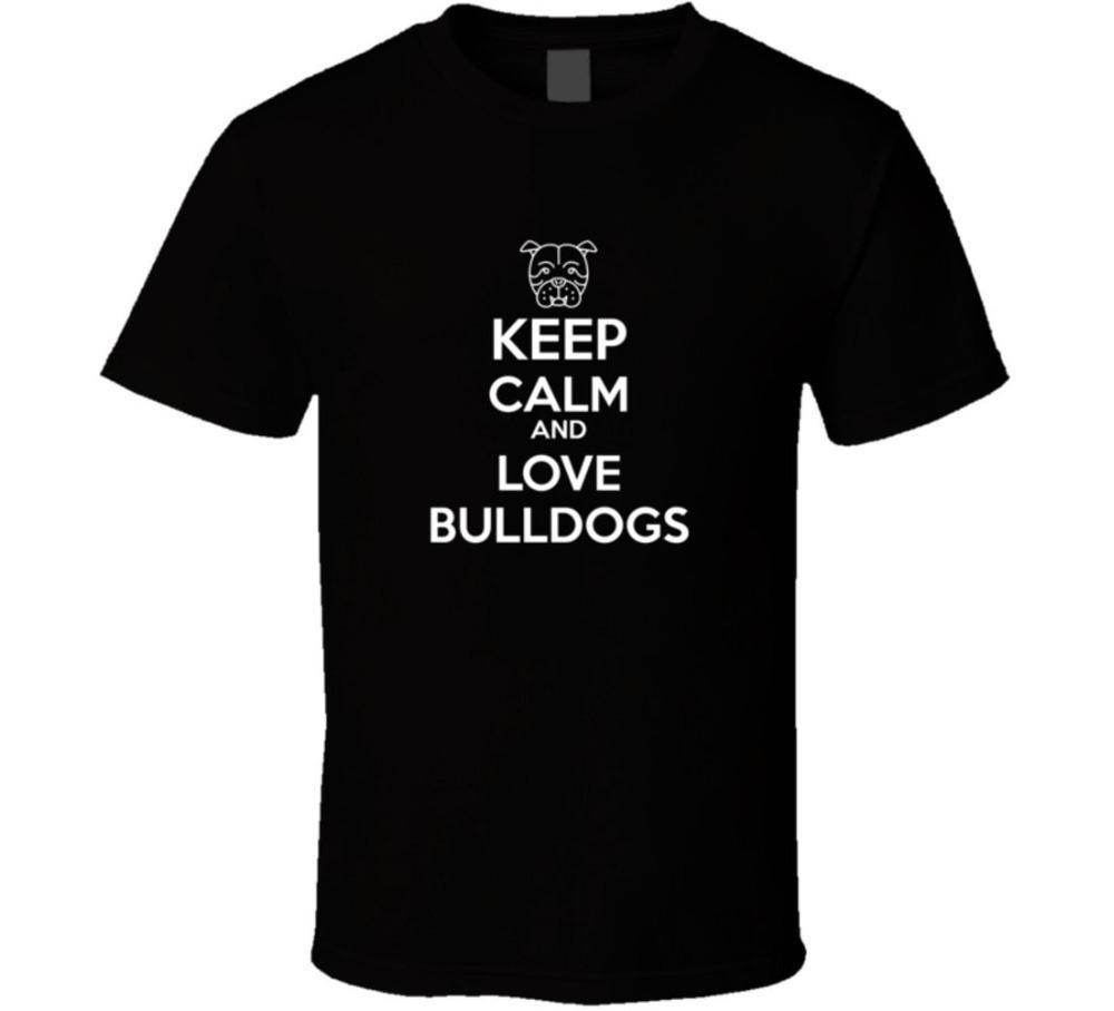 2019 estate di marca adulti casuale Tee Shirt Mantieni la calma Amore Bulldogs T Shirtfitness Tshirt