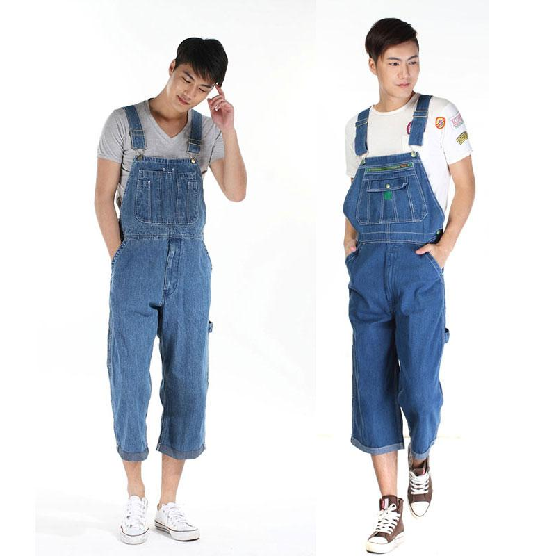 Erkek Denim tulumları Sıcak 2020 Erkekler Artı boyutu 28- 48 50 tulumları Moda Büyük cebi Tulum Retro Tulum Şort