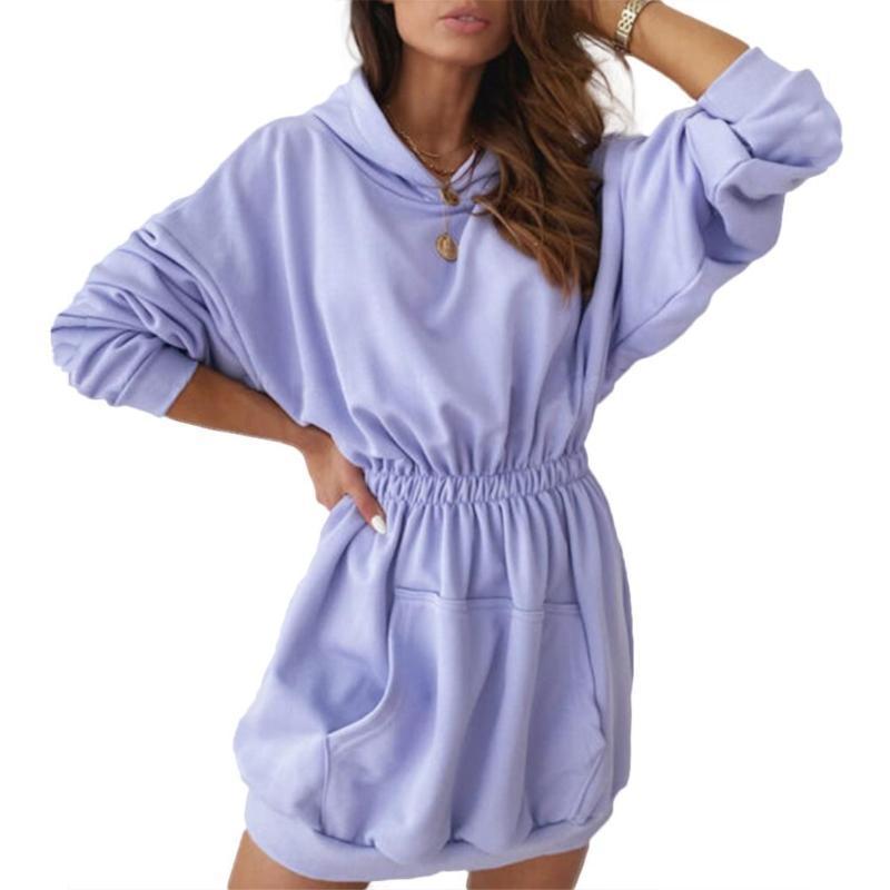 2020 nuevas mujeres calientes de otoño casual color sólido de manga larga con capucha de deporte de bolsillo mini vestido