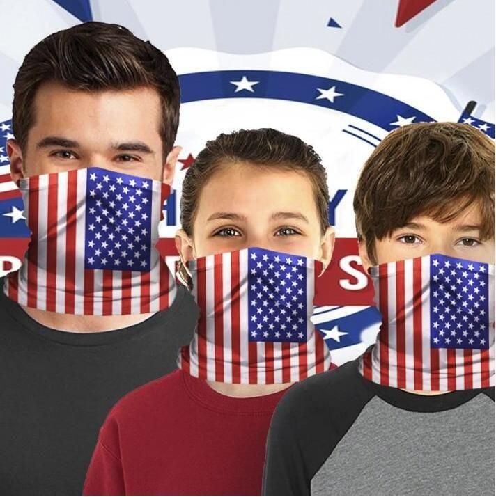 magazzino degli Stati Uniti bandiera americana stampata mascherina protettiva Adulti Bambini Sport equitazione maschera maschere tovagliolo magico pettorale con 1 filtro per FY7142 gratis