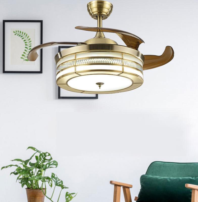 Ventilator-Licht Kupfer Licht amerikanische Kristalldeckenventilator Restaurant Schlafzimmer Invisible Blatt