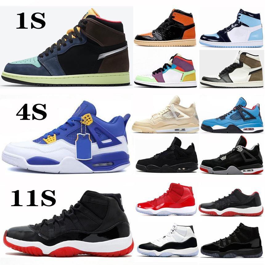 Jumpman 1 1s High OG Black Cat 4 4s Разводят 11 11s Баскетбол обувь Concord 45 UNC Bio Hack Мужские спортивные Кроссовки Кроссовки