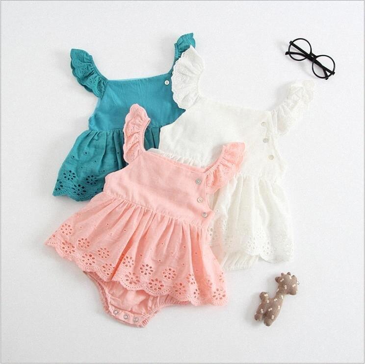 Vestiti del bambino appena nato INS estate pagliaccetti delle Cotton Solid Onesies bambino ricamati tute Triangolo vestiti di ascensione principessa Top B jPk5 #