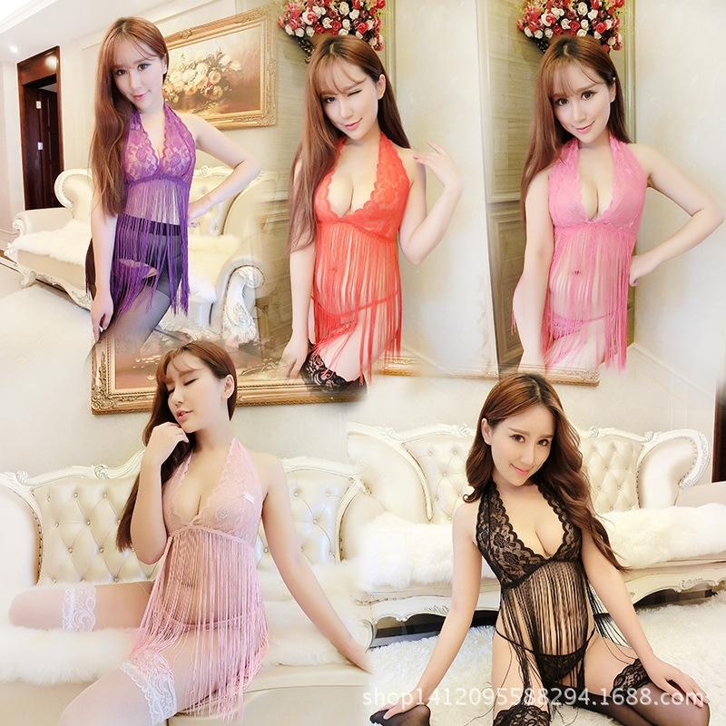 Kfg8e PHFmq multi-couleurs transparent houppe ensemble multi-pièces un cou multi-couleur Pyjama en dentelle transparente pompon Sous-vêtements sexy jeu multi-pièces