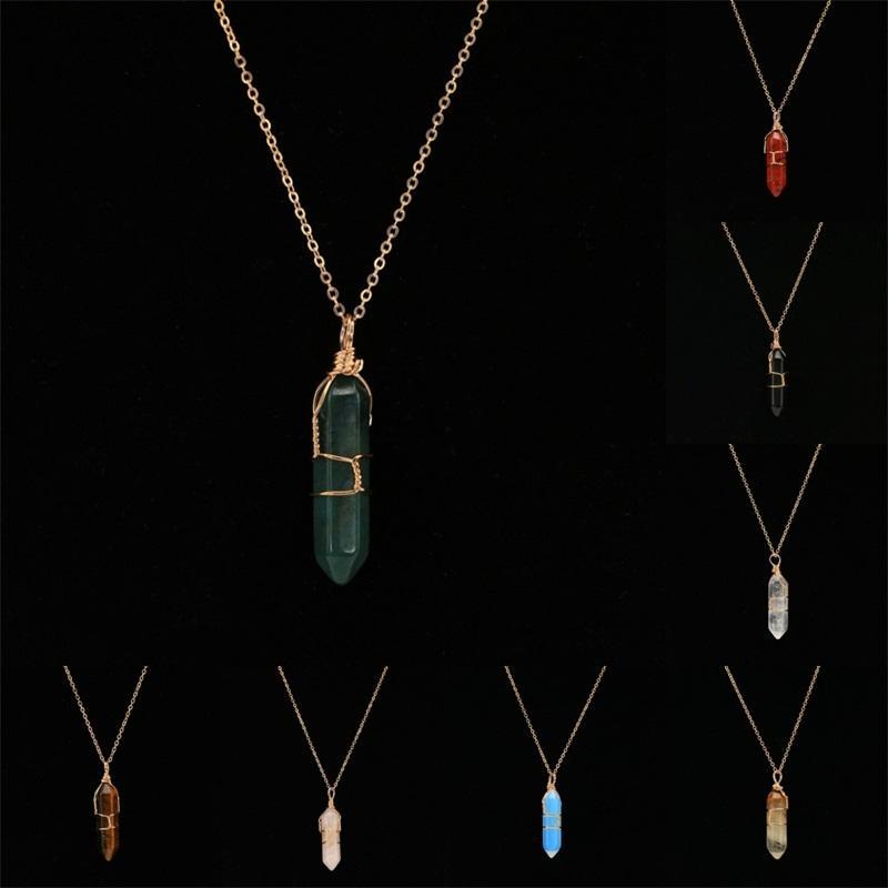 المعلقات العمود سداسية مع سلسلة ذهبية قلادة الإبداعية شفاء بلورات المعلقات الأزياء والحجر الطبيعي العقيق مجوهرات اكسسوارات 5le B2