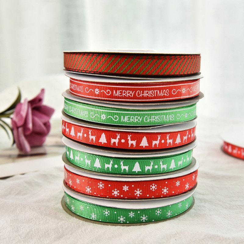 7 Дизайн Рождество ленты 3/8 «» Grosgrain атласная ткань Xmas Ленты для украшения Crafts 25 ярдов за рулон