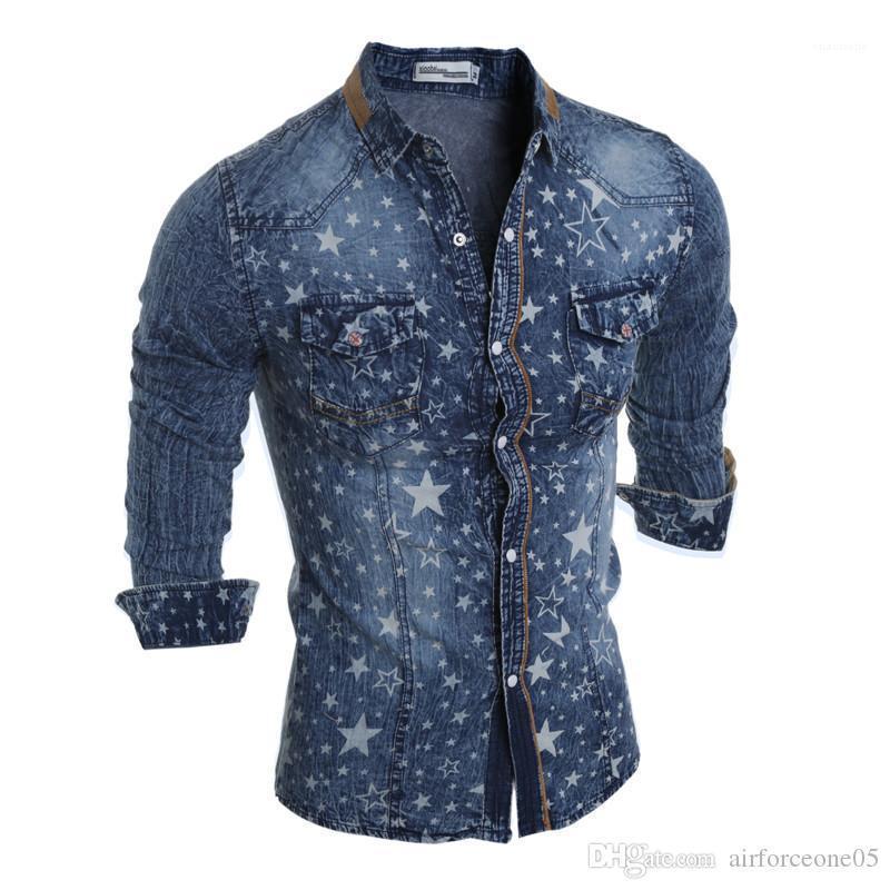 Uzun Kollu Erkek Casual Gömlek Moda Erkek Yıkanmış Tops Denim Erkek Gömlek Sonbahar İnce Yıldız Baskılı Yaka Boyun