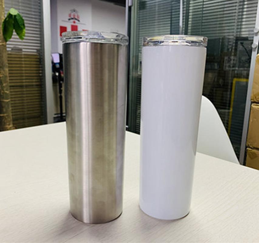 Blanc Sublimation Gobelets Slim Coupe Skinny Coupes droites vide Bouteille d'eau tasse de café avec couvercle chopes Sea Shipping IIA476