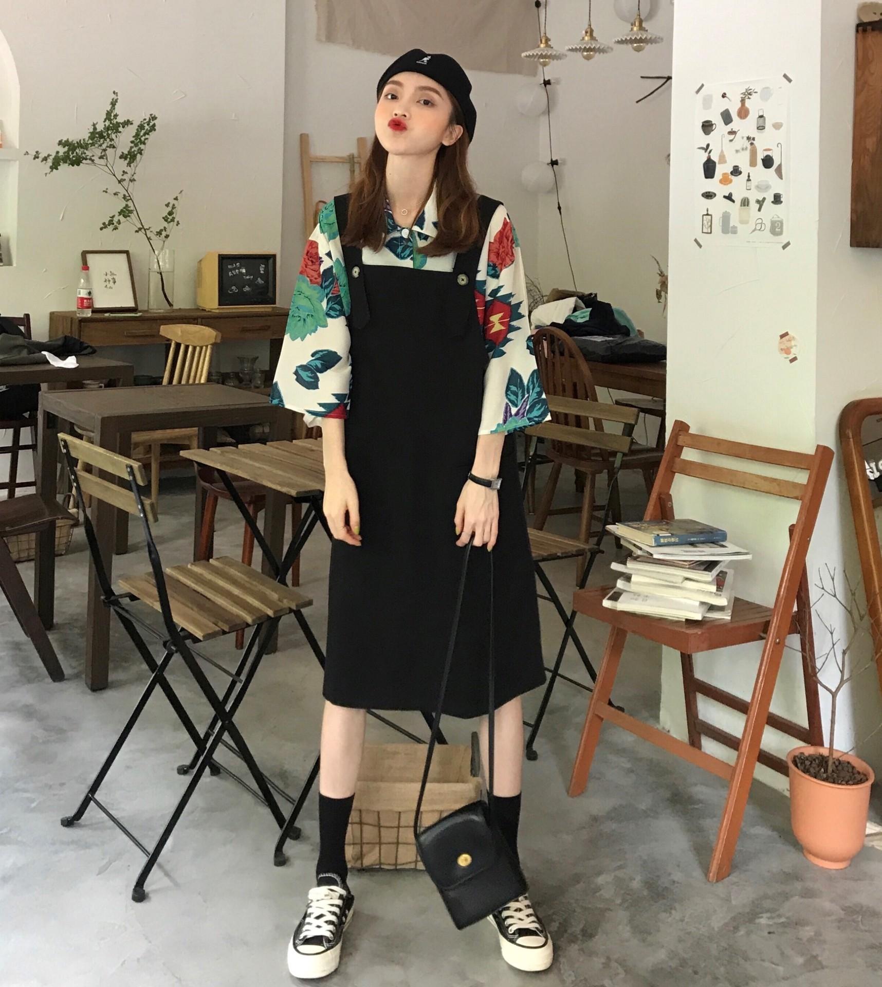 cSY3R vêtements printemps style occidental chemise jeune manches chauve-souris à mi-longueur lâche manches longues costume de mode floral shirt femme de Q203