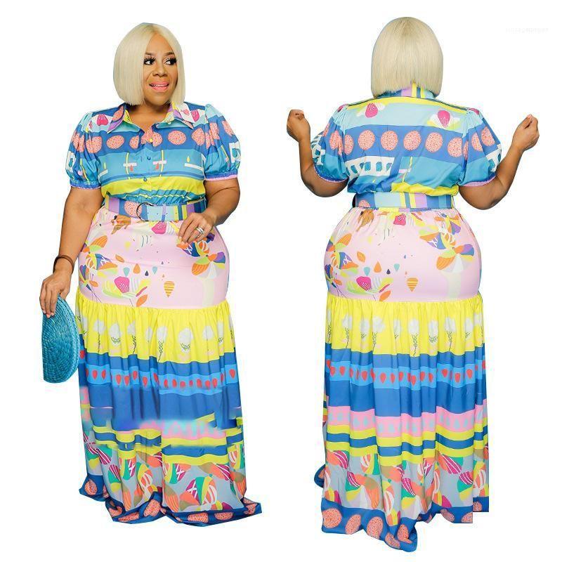 Manica corta maxi vestito casuale sexy Plus Size Abbigliamento Donna progettista delle donne Abiti Moda Stampa Estate