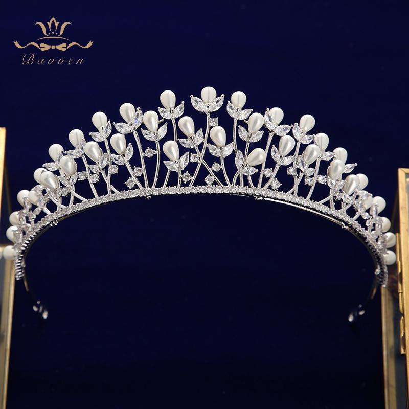 Las hojas de primera calidad circón Novias Tiaras Tocados Impresionante regalos de cristal Coronas Las vendas de boda accesorios del pelo para Y200807 nupcial