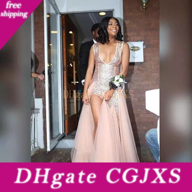 2020 Sexy profundo Moderno Blush rosa vestidos de fiesta con cuello en V con lentejuelas tul sirena de los vestidos de noche lateral de Split formal del partido el vestido por encargo