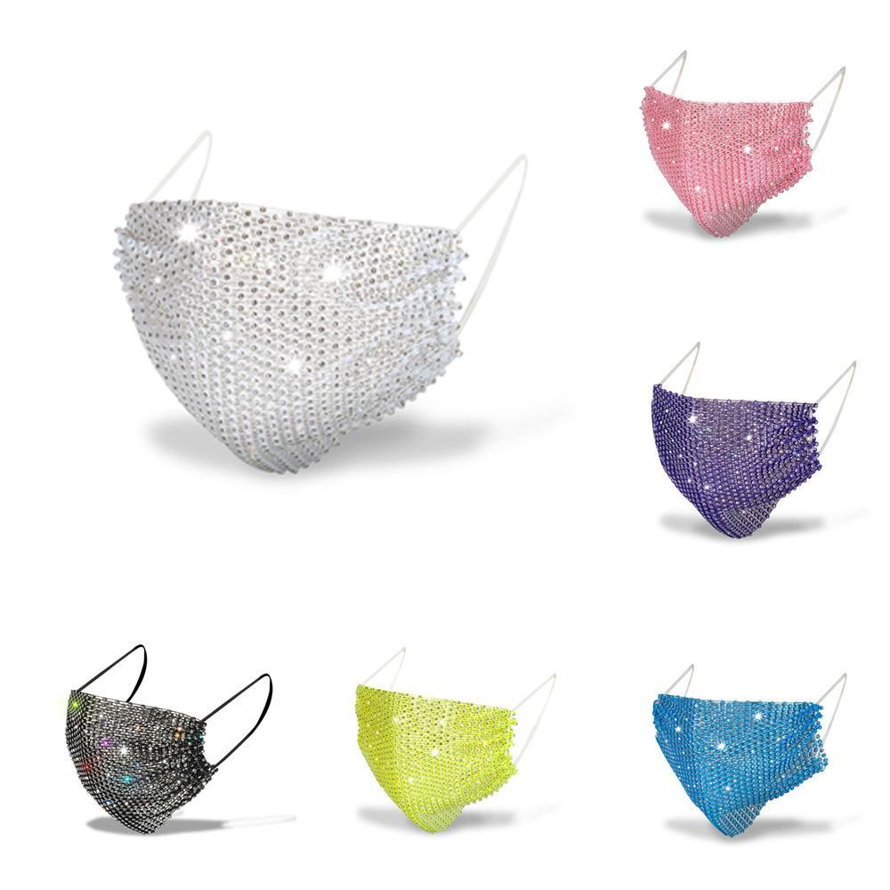 Diamantes de imitación de la máscara de las lentejuelas de la boca cubierta de la máscara Máscaras Moda Bling Bling de protección PM2.5 reutilizable lavable adultas