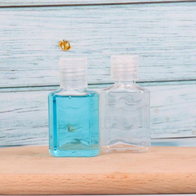 30ml desinfectante de manos PET botella de plástico con tapa superior flip botella forma cuadrada claro para los cosméticos mano desechable desinfectante LX2982