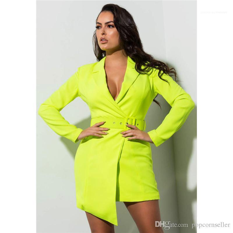 Kemer Düzensiz İnce Ceket Sıcak Giyim Bayan Ceket Yeni Moda Coat Elbise Floresan Derin V
