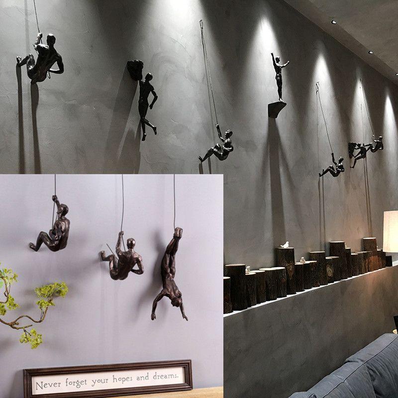 Creative Rock Stimbing Hombres Escultura Muro Colgante Decoraciones de resina Estatua Figurine Artesanía Casa Muebles Decoración Accesorios LJ200904