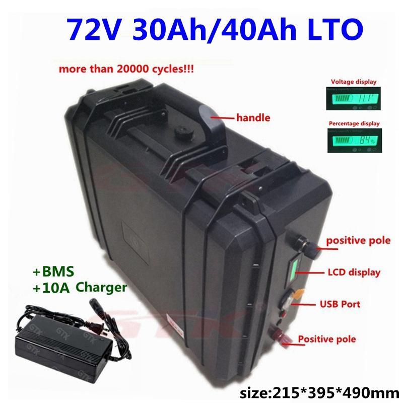 Tragbare 20000 Zyklen LTO 72V 30Ah 40Ah Lithium-Titanat-Akku-Pack bms 30s für ebike motorcyle Gabelstapler + 10A Ladegerät